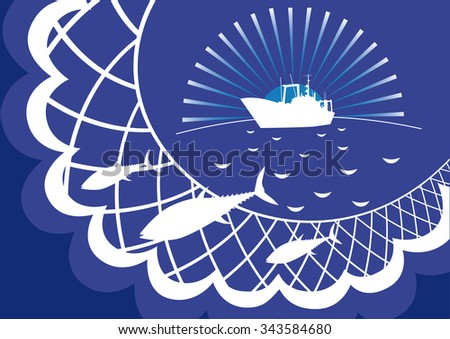 Fishing nets, fish tuna seiner against the backdrop of sea and sun. - stock vector