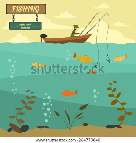 Fishing on the boat. Fishing design elements. Vector illustration - stock vector