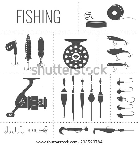 Fishing reel, hooks, float, fishing line, lure, bait. Icons and illustrations for design, website,  poster, advertising. - stock vector