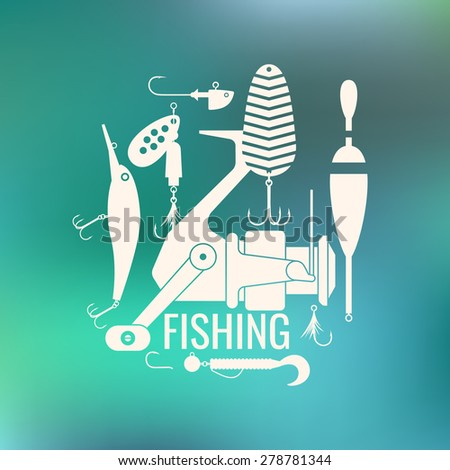 Fishing reel, hooks, float, fishing line, lure, bait. Vector elements, eps 10. Icons and illustrations for design, website, infographic, poster, advertising. - stock vector