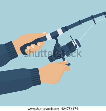 Fishing rod in the hands of men fisherman. Vector illustration of a flat design. Fishing rod closeup. Holding fishing rod, reel fishing line. - stock vector