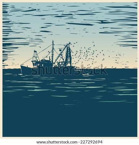 fishing schooner, sea and sea gulls. linocut style. vector illustration - stock vector