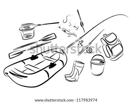 Fishing set - stock vector