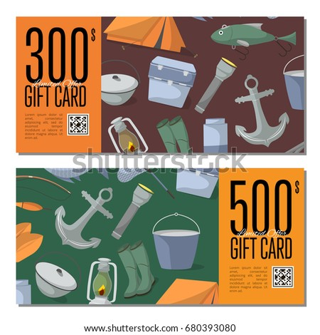 Fishing Shop Gift Card Templates Tourist Stock Vector 680393080