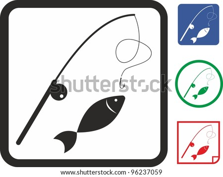 Fishing spinning equipment and fish vector icon - stock vector