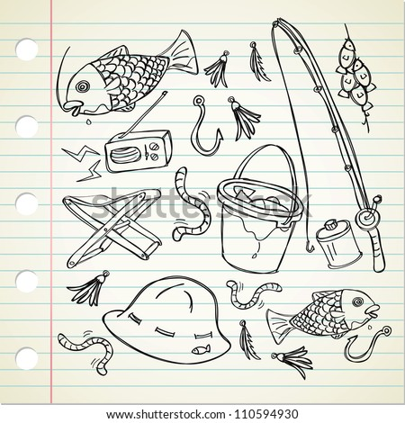 fishing stuff in doodle style - stock vector