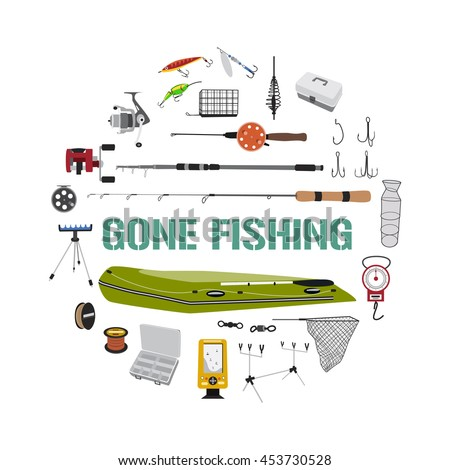 Gone fishing stock images royalty free images vectors for Circle fishing boat