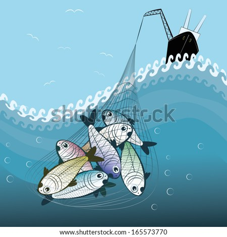 fishing the big fishes - stock vector