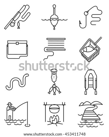 Fishing thin and simply icons set. Minimalistic signs with fisherman, rod, tackle, fish, worm, landscape, lake and pier, net, bobbin with reel, inflatable boat with oars, hook and float illustration - stock vector