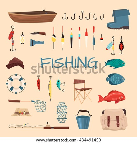 Fishing tools illustration. Fishing hook vector set. Fishing symbols, vector icons: life ring, chair, hat, bag, boat, knife, net, boots. Items fishing hook, tackle, bait, reel, anchor, bucket.  - stock vector