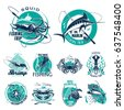 fishing trip vector icons for...