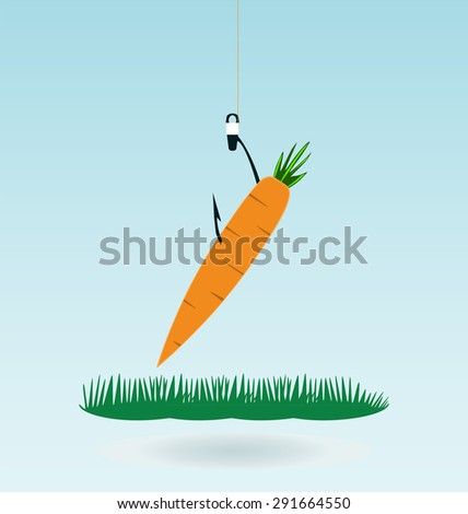 fishing with a carrot, grass concept - stock vector