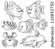 Fishs black and white collection - stock vector
