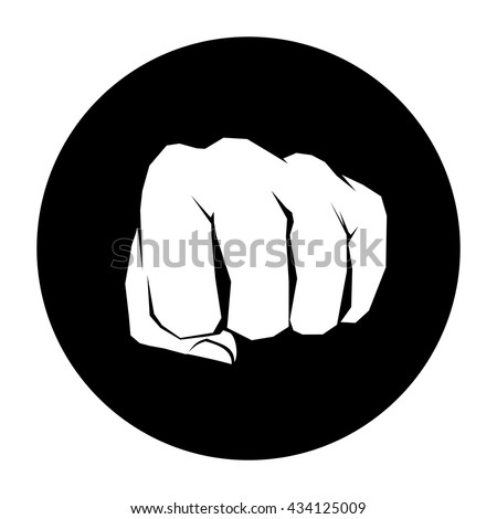 fist front view icon black circle stock vector hd (royalty free