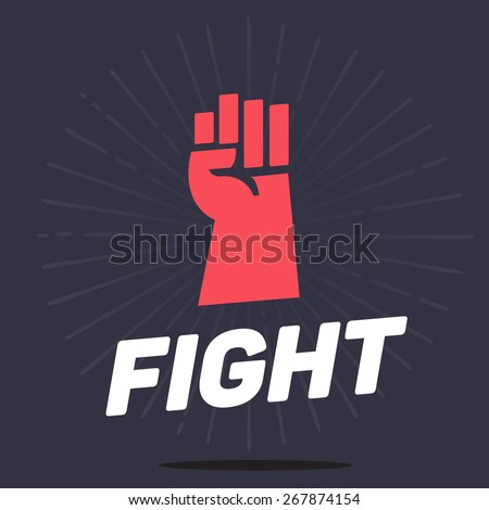 fist hands up icon with typographic, fight and revolution concept - vector ilustration - stock vector