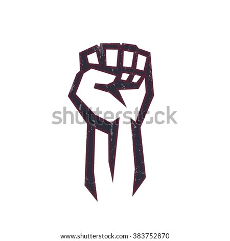 fist held high in protest, fist logo element, protest sign with fist on white, vector illustration - stock vector