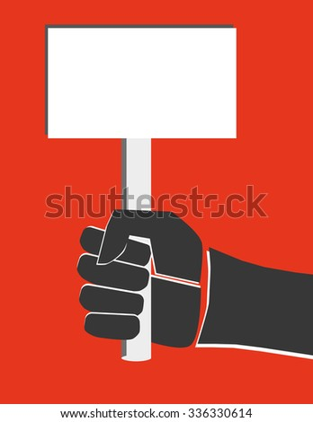 Fist in black and white offset printing style holding a blank placard or sign with copy space available for text - stock vector