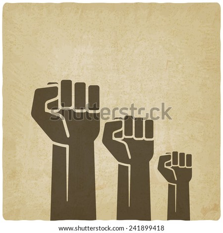 fist independence symbol old background - vector illustration. eps 10 - stock vector