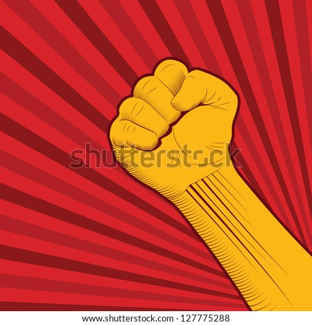 Fist of revolution - stock vector