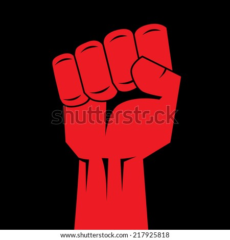 Fist red clenched hand vector. Victory, revolt concept. Revolution, solidarity, punch, strong, strike, change illustration. Easy to change color. - stock vector