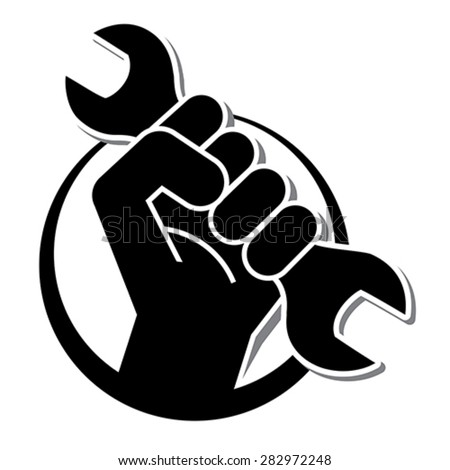 fist revolution symbol with wrench, vector  - stock vector