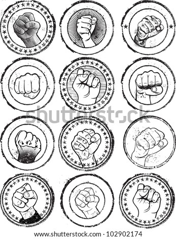 Fist stamps - stock vector
