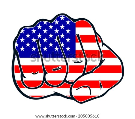 Fist with colors of the country united states of america, usa