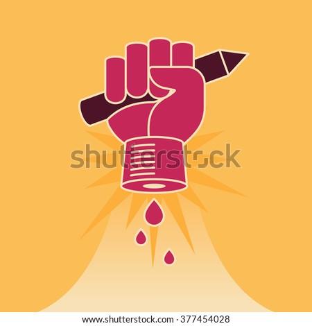 Fist with pencil. Idea revolution concept. Vector illustration. - stock vector