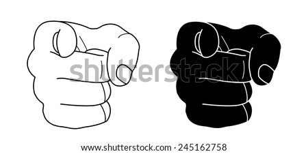 Fist with pointing finger. Contour lines, black silhouette. Vector clip art illustration isolated on white - stock vector