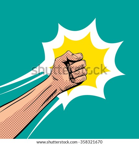 Fisticuff comic book pop art, vector illustration