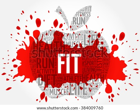 FIT apple word cloud concept - stock vector