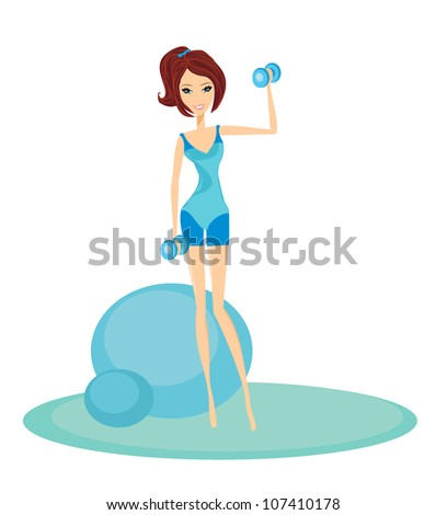 fit brunette woman exercising with two dumbbell weights on her hands - stock vector