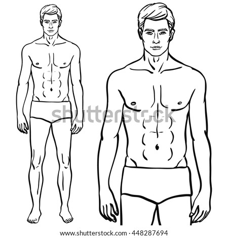 Fit fashion model man isolated vector illustration in EPS 8 format. Athletic male body template. - stock vector
