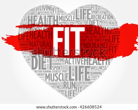FIT heart word cloud, fitness, sport, health concept - stock vector