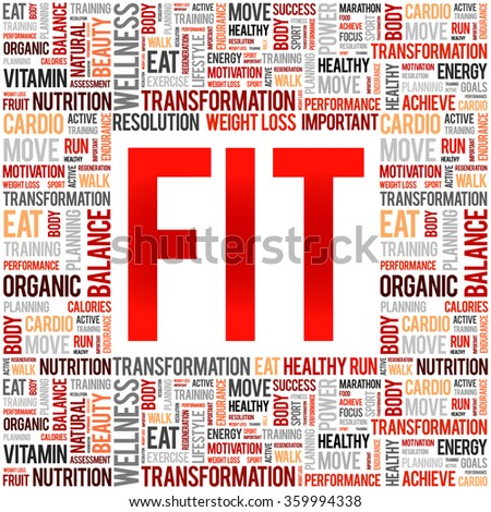 FIT word cloud background, health concept - stock vector