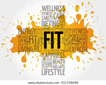 FIT word cloud, health cross concept - stock vector