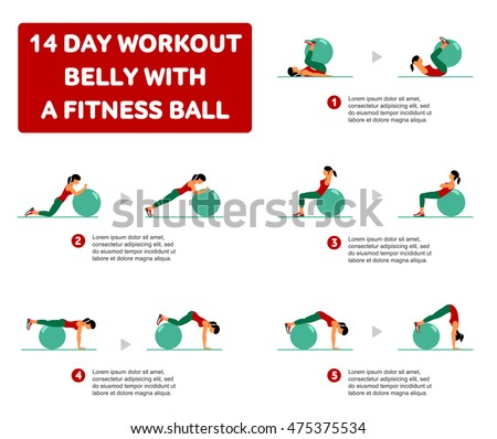 Fitness, Aerobic and workout exercise in gym. Vector set of workout icons in flat style isolated on white background. Fitness equipment, dumbbell, weights, treadmill, ball.