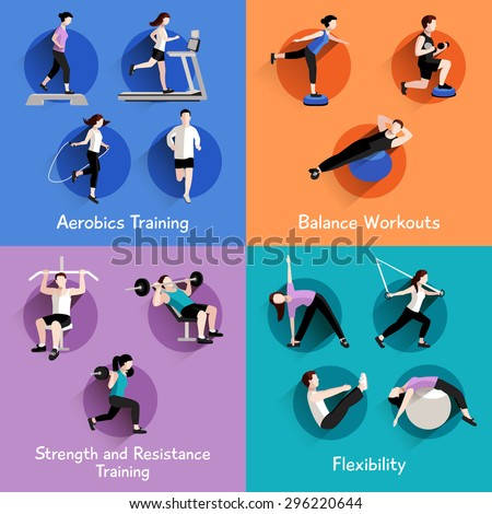 Fitness aerobic strength and body shaping exercises 4 flat icons square composition banner abstract isolated vector illustration - stock vector