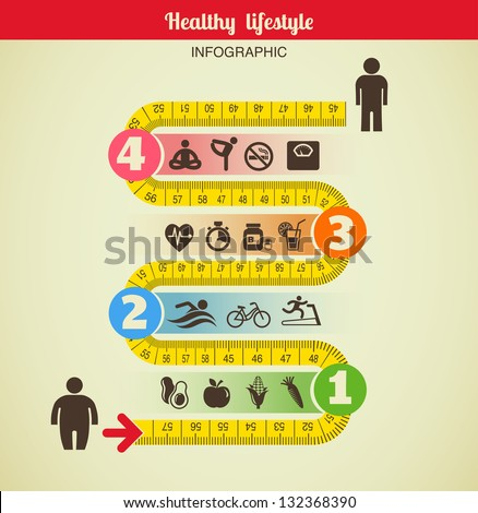 Fitness and diet infographic - stock vector