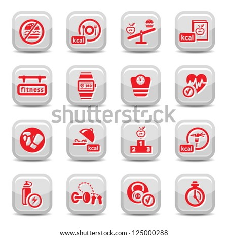 Fitness and Diet vector icon set for web and mobile. All elements are grouped. - stock vector