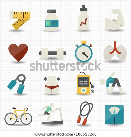 Fitness and health care icons - stock vector