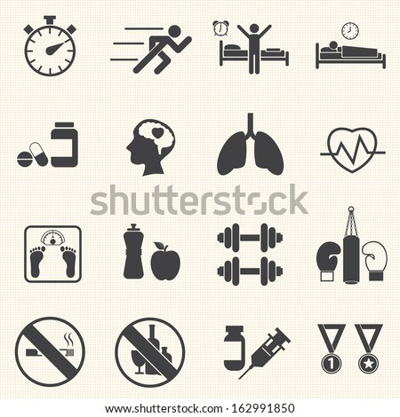 Fitness and Health icons. Healthy lifestyle. Vector - stock vector