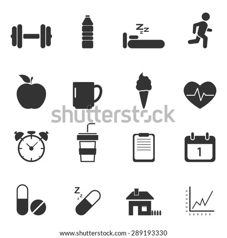 Fitness and Health icons,Vector EPS10. - stock vector