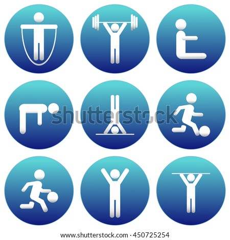 Fitness and Health icons with White Background. Sport icons set. Stick Figure icons.