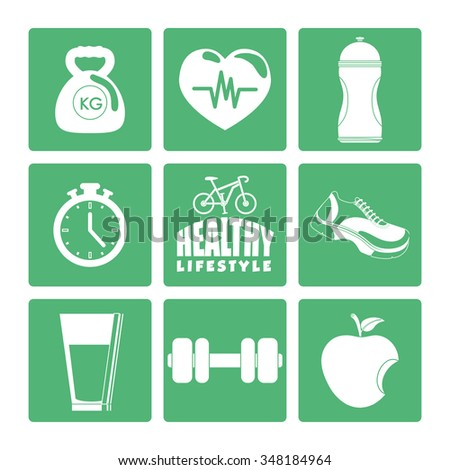 Fitness and healthy lifestyle graphic design, vector illustration - stock vector