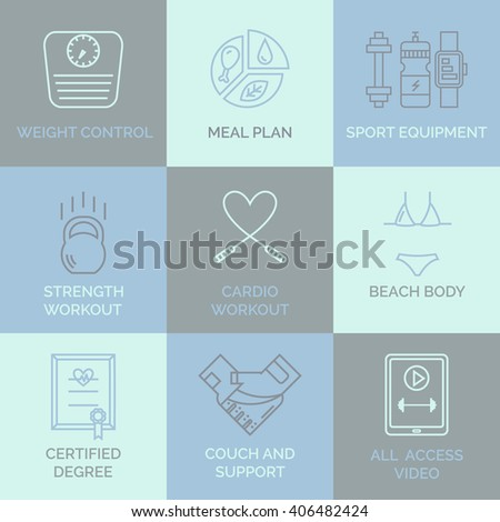 Fitness and personal training line icons. For web site, sport app, online workouts, gym. Vector concept in modern outline style. - stock vector