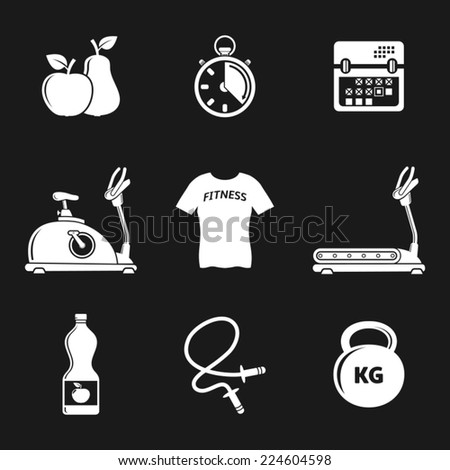 Fitness and sport icon set - stock vector