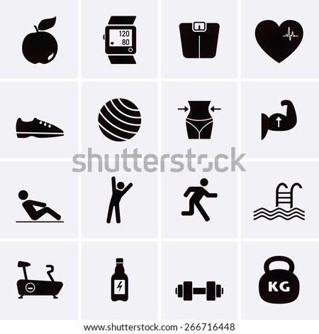 Fitness and Sport Icons fitness - stock vector
