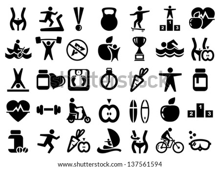 Fitness and sport icons set - stock vector