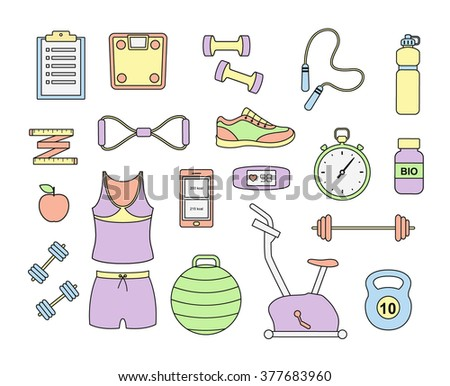 Fitness and sport tools and elements icons. Vector set with dumbbells sport shoes sportswear - stock vector